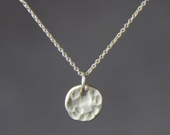 Sterling silver textured hammered circle disc simple pendant necklace Bridesmaids gifts Free US Shipping handmade Anni Designs