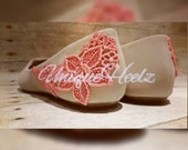 Hand dyed Venice lace bridesmaid flats - can be dyed in any color - Bridesmaid shoes - wedding - after party shoes