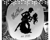 Just engaged or just married wedding plate -bride and groom gift - engagement gift - vinyl NOT paint