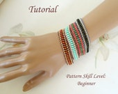 EASY twin or superduo beaded bracelet beading tutorial beadweaving pattern beadwork jewelry beadweaving tutorial beading pattern instruction