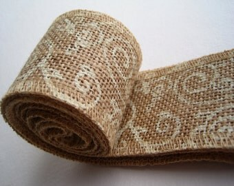 """Burlap Ribbon with Cream Scroll Print - 2"""" X 10' - Country House- Sale"""