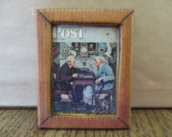 """Vintage Miniature Dollhouse Picture Framed Wood Post Magazine Handmade Handcrafted 1-3/4"""" x 2"""""""