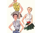 1950s Style Sleeveless Basic Button Up Blouse with Collar Custom Made in Your Size From a Vintage Pattern