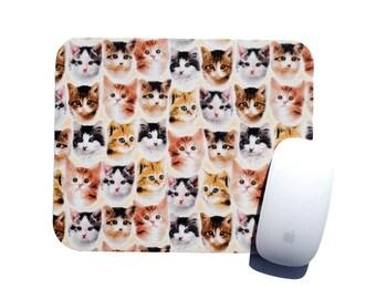Kitten Face Mouse Pad / Home Office Dorm Room Decor / Happy Cats By Slightly Smitten Kitten