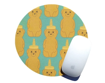 Honey Bear Mouse Pad / Aqua Yellow Round Mousepad / Modern Hipster Home Office Desk Decor / Farm to Table / Slightly Smitten Kitten