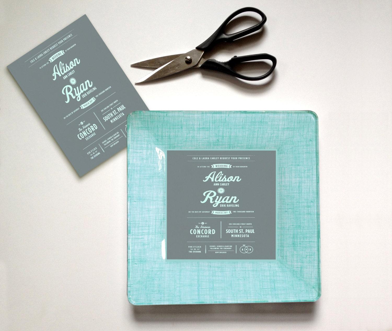 custom wedding gift idea wedding invitation plate keepsake