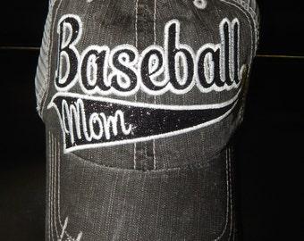 GLITTER Baseball Mom Hat