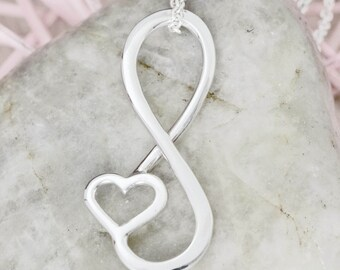 Infinity Pendant, Heart Necklace, Infinity Jewelry, Heart Jewelry, Silver Necklace, Infinity Necklace, Heart Pendant Necklace