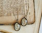 Beer Hops Earrings - Antique Botanical Print Dangle Earrings in Brass - Beer Jewelry