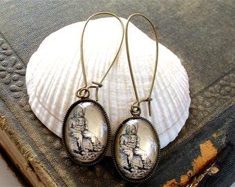 Antique Deep Sea Diver Earrings in Brass  - Diving Dangle Earrings