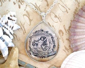 Mermaid Necklace - 1903 Antique Nautical Print Statement Necklace