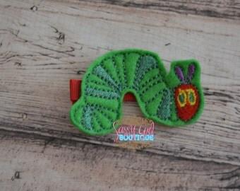 Girls Felt Hair Clip -Animal-Big Felt-Hair Accessories--Embroidered Boutique caterpillar Felt Hair Clippie-No Slip Grip