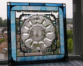 Stained Glass Art Panel|Vintage Plate|Shell Design|Blue|Clear|Art & Collectibles|Glass Art|Panels|Handcrafted|Made in USA