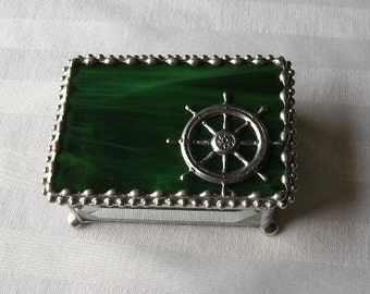 Stained Glass Jewelry Box|Ship's Wheel|Ship's Wheel Jewelry Box|Ship's Wheel Box|Green|Jewelry|Jewelry Storage|Handcrafted|Made in USA