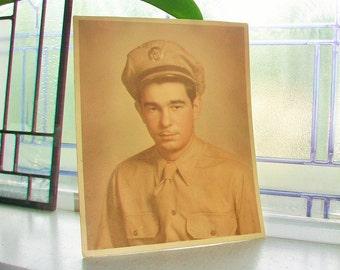 Vintage Photograph Soldier 1940s 8 x 10