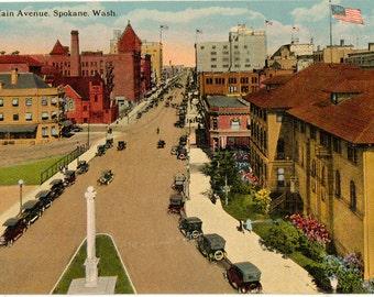 Linen Postcard, Spokane, Washington, Main Avenue, Street Scene from Above, ca 1930