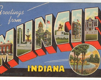 Linen Postcard, Greetings from Muncie, Indiana, Large Letter, ca 1940