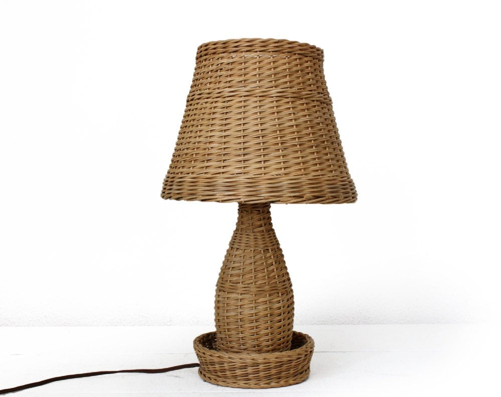 Vintage french Woven Wicker Table lamp mid century