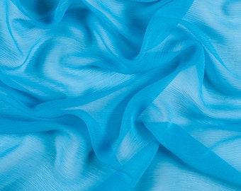 "42"" Wide 100% Silk Crinkled Chiffon Turquoise by the yard"