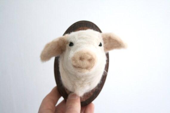 Wool Felt Pig (Sus scrofa domesticus) Faux-Taxidermy