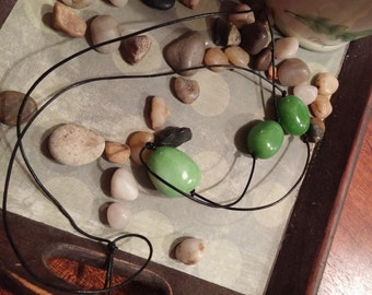 AVENTURINE PROSPERITY NECKLACE Leather Cord Hand Knotted Polished Stones Crystals Green Aventurine