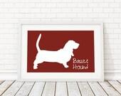 Basset Hound Silhouette Modern Dog Print - Custom Wall Art, Personalized Dog Print, Modern Dog Home Decor, Dog Portrait, Dog Art, Dog Lovers