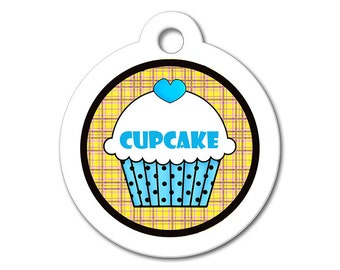 Cute Dog Tag - Blue Cupcake with Orange Background - Personalized Pet Tags, Custom Pet Tags, Dog ID Tags, Cat ID Tag, Dog Tags for Dogs