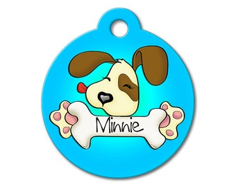 Cute Dog Tag - Blue Cute Puppy Licking a Bone - Personalized Pet Tags, Custom Pet Tags, Dog ID Tags, Cat ID Tags, Dog Tags for Dogs