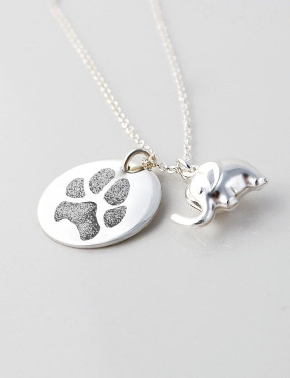 actual paw print personalized pendant necklace with