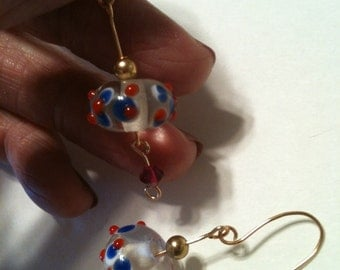OOAK Red White Blue Clear Lampworked Bumpy Bead And 14 KT Gold Filled Dangle Earrings on ETSY at DesignsByDebbieKay