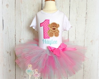 Bear Birthday Tutu Outfit- First 1st Birthday- Pink dots- Pink and aqua- Custom Birthday Outfit