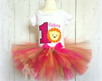 Lion birthday outfit - 1st birthday outfit - zoo themed outfit - safari themed outfit - lion tutu outfit - pink leopard print