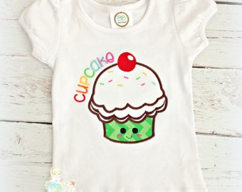 Cupcake Applique Shirt- Happy Face Cupcake- Birthday- 1st Birthday- Sprinkles- Custom embroidery