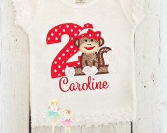 Monkey birthday shirt - sock monkey birthday shirt- toy monkey shirt- girls monkey birthday shirt- red sock monkey themed embroidered shirt