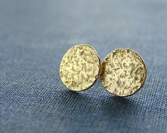 Disc stud earrings. Textured brass studs. Small moon studs. 10mm disc stud.