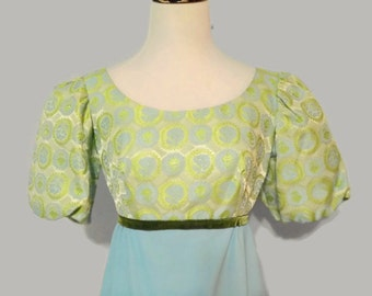 1960s Empire Waist Floral Lollipop Brocade Puff Sleeve Top Green Velvet Ribbon Baby Blue Light Green Silver