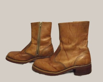Mens 70s 80s Knapp Side Zip Tan Size 9D Riding Motorcycle Engineer Work Roper Boots Shoes