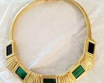 Alexis Kirk Signed Omega Necklace w/Green & Black set stones