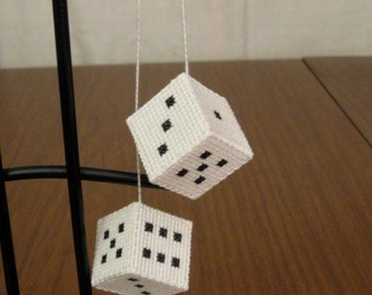 Handmade completed cross stitch hanging dice ornament