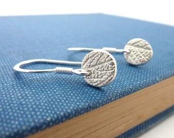 Mini Silver Leaf Pattern Round Earrings - Fine Silver Leaf Earrings on Sterling Silver Hooks, Free UK Postage