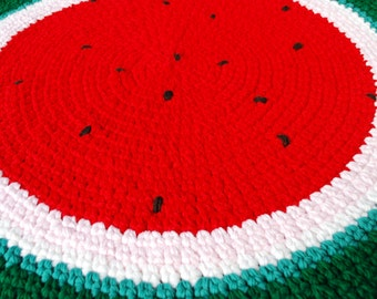 Watermelon handmade circle rug