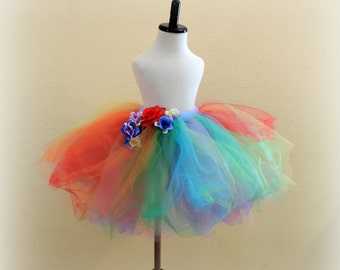 Girls tutu skirt tutu tulle skirt rainbow tutu party dress tutu skirt flower tutu rainbow birthday party dress