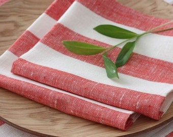 Set of 4 linen Napkins Striped Red White