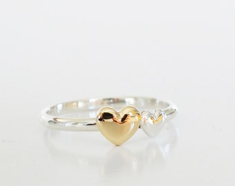 DOUBLE Gold Heart Ring Stacking Ring Heart Ring - Sterling Silver (925) and 9ct Yellow Gold