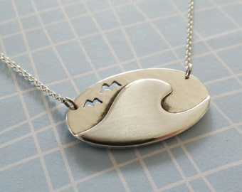 Wave Pendant Ocean Necklace Seagull Pendant Oval Disc Pendant Surfing Jewellery - Sterling Silver (925)