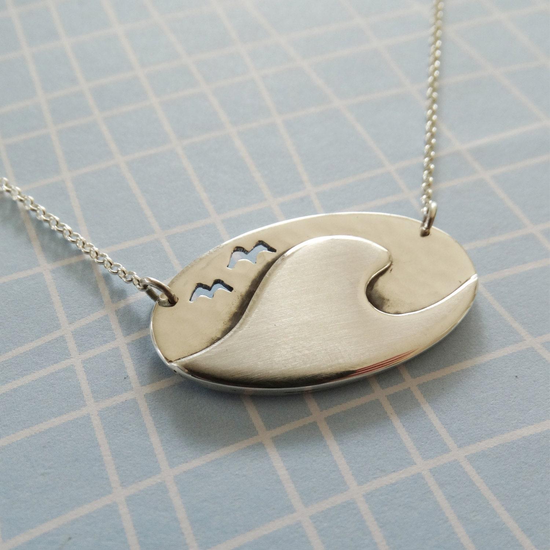 Wave pendant ocean necklace seagull pendant oval disc pendant wave pendant ocean necklace seagull pendant oval disc pendant surfing jewellery sterling silver 925 mozeypictures Images