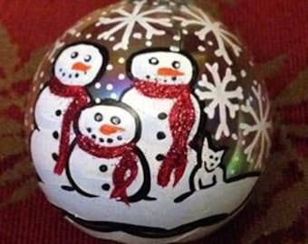 Hand Painted Christmas Snowmen Family