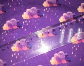 Purple Acid Rain Clouds Knit Fabric Cotton lycra