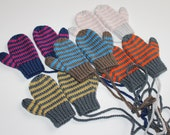 Hand Knitted Toddler Kid Child Striped In 2 Colours or One Colour Mittens for Boy or Girl to fit  6M to 36m in custom colour Made to order