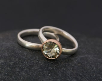 Green Amethyst Engagement Ring and Wedding Band - Green Amethyst Wedding Set - Amethyst Set in 9k Rose Gold - Made to Order - Free Shipping